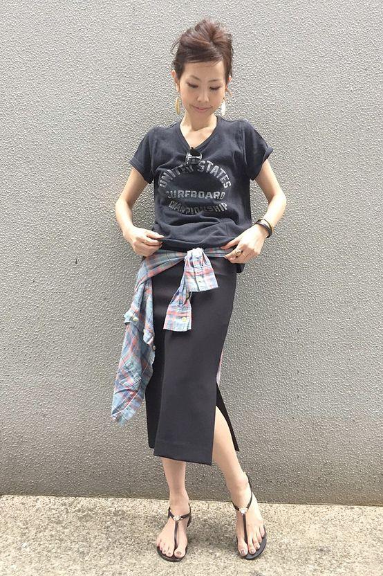 スリットlongタイトスカート×TShirtはcoordinateのみせどころ♪  L'Appartement DEUXIEME CLASSE コーディネート