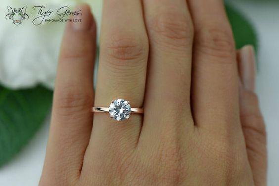 1.5 Karat Verlobungsring, ROSE Solitaire Ring, Man machte Diamond Simulanzlösemittel, 4 Prong Ehering, Bridal Ring, Promise Ring, Sterling Silber