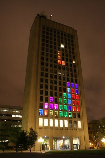 Hackers transformed this building on the MIT campus into a gigantic game of Tetris. That's FANTASTIC