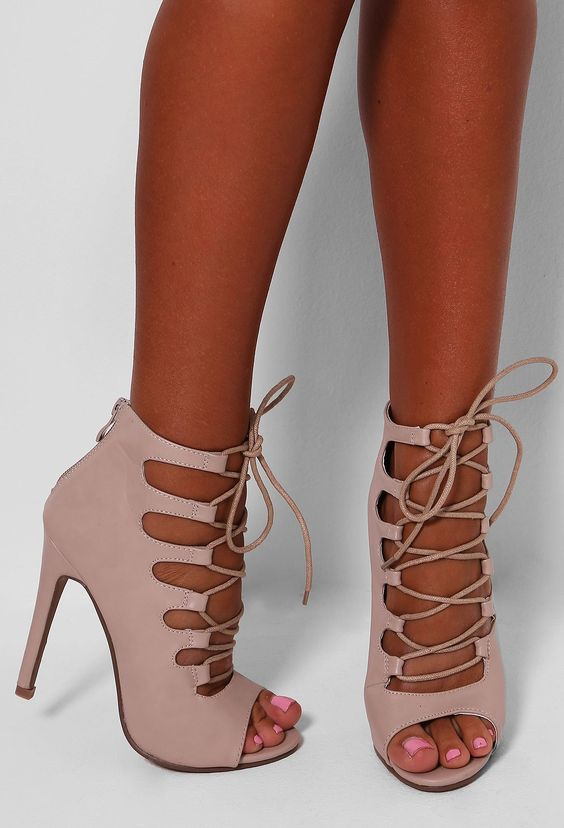 Monique Nude Leatherette Lace Up Heels | Pink Boutique:
