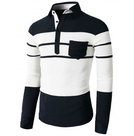 Doublju Men's Polo Shirts Stripe Patterned With Color Pocket On The Chest (KMTTL0152)