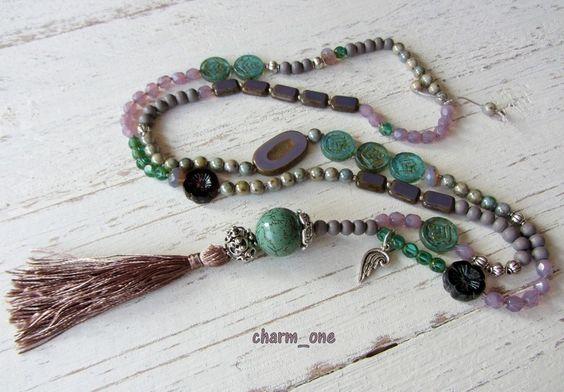 Lange Kette ★ Quaste ★ lila - flieder - türkis von charm_one Perlenunikate      auf DaWanda.com