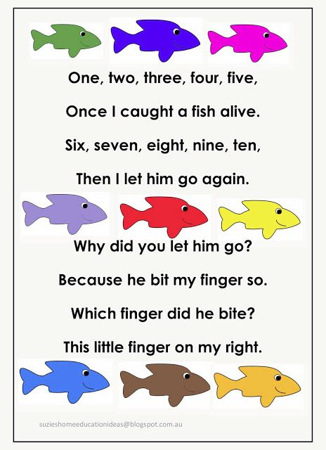 Fishing for numbers early number learning language for Little fish song
