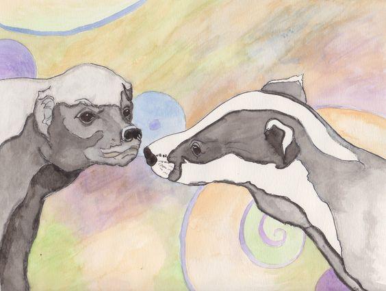 Honey Badger meets an American Badger - <3 - by Sara Croft