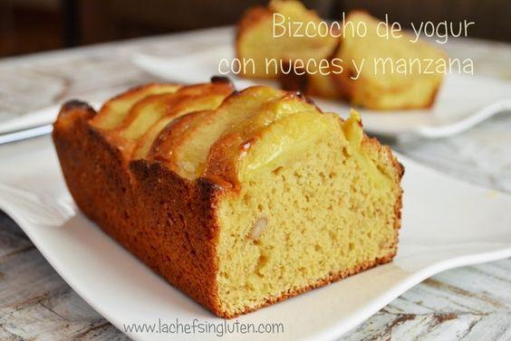 BIZCOCHO DE YOGUR CON NUECES Y MANZANA   La chef sin gluten