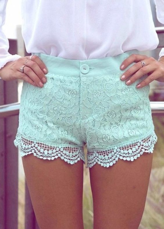 Minty Lace shorts: