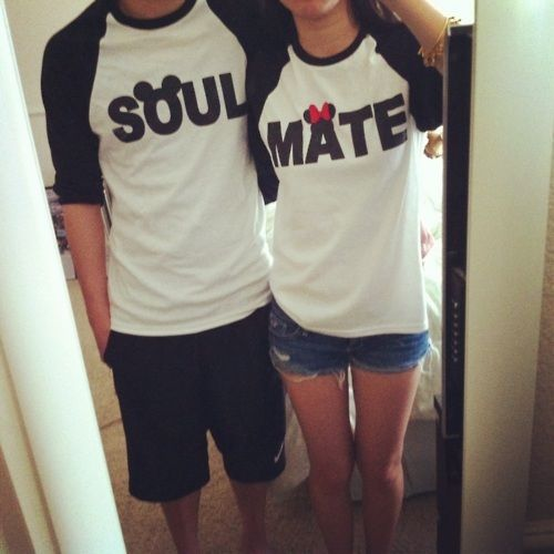 """""""soulmate"""" mickey and minnie shirts..adorable!"""