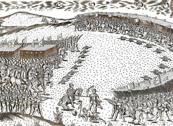 """Representação da batalha de Alcácer-Quibir publicada por Miguel Leitão de Andrade na obra """"Miscelânea"""" em 1629"""