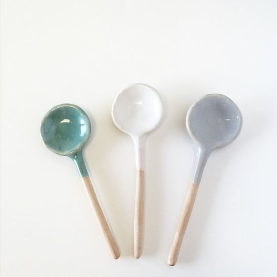 Ceramic Spoon trio of small spoon serving Home by aveshamichael