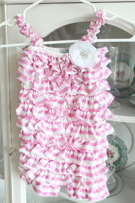 Couture Satin Light Pink/White Stripe Ruffle by CrystalClearonEtsy, $28.00