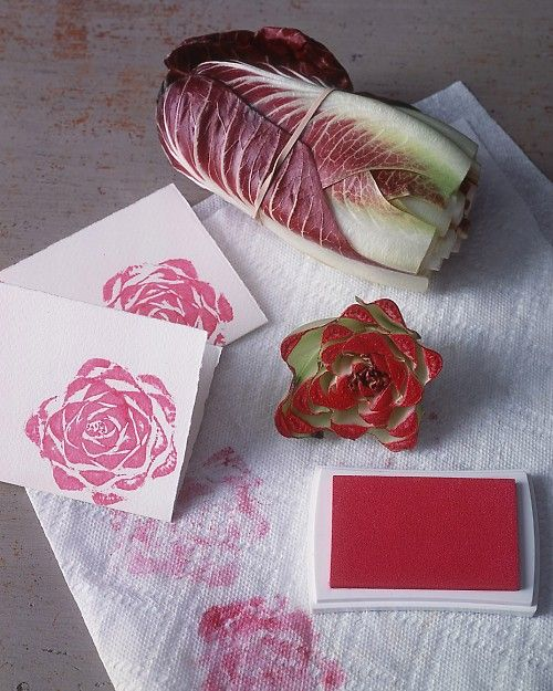 Rosy Stationery: Use vegetables to make floral-shaped stamps. Here, the end of a head of Treviso radicchio yields a roselike print. Cut off stem end with a sharp knife, and stand stem on a paper towel, cut-side down, for 5 minutes to dry. Press cut side onto a large stamp pad, then onto cards, stationery, and more, blotting on paper towel between presses. Vary stamp shapes with other vegetables, such as romaine lettuce stems or even brussels sprouts cut in half.