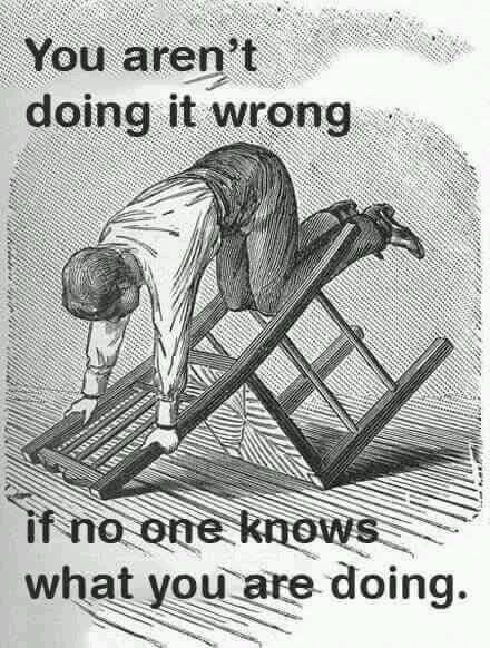 Funny webcomic meme about how you aren't doing it wrong if no one knows what you are doing
