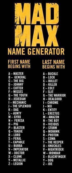 Mad Max Name Generator Madmax Mad Max Name Generator Names