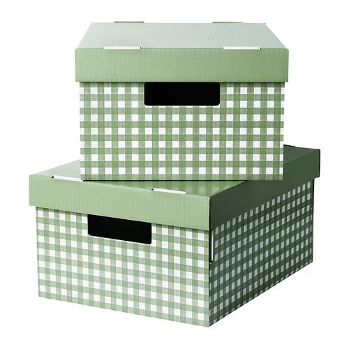 ikea pingla box mit deckel gr n 28x37x18 cm. Black Bedroom Furniture Sets. Home Design Ideas