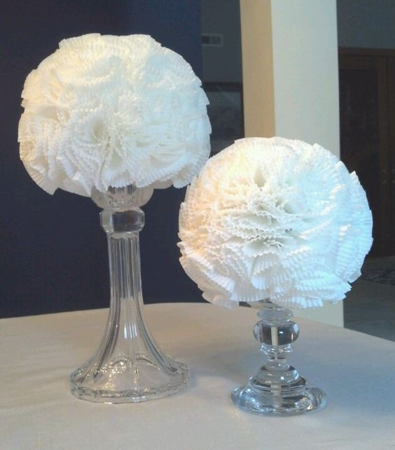 Bridal shower elegant modern white paper decorations diy