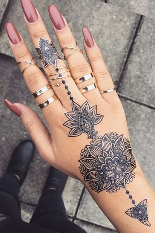 Tribal Lotus Mandala Hand Tattoo Tattoo Tattoos Tattooideas Tattoodesigns Hand Tattoos For Women Aztec Tattoo Henna Tattoo Designs
