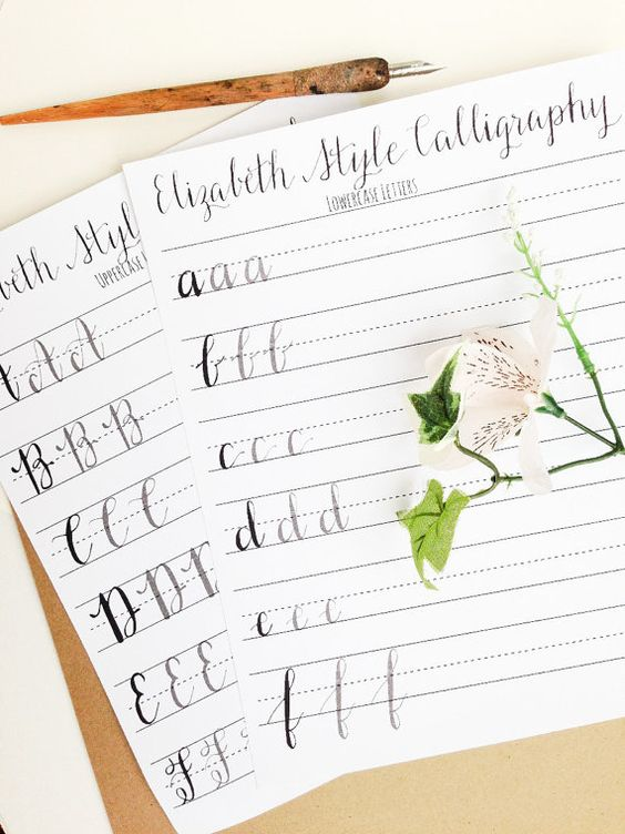 Modern Calligraphy Practice Worksheets  by StunningScript on Etsy