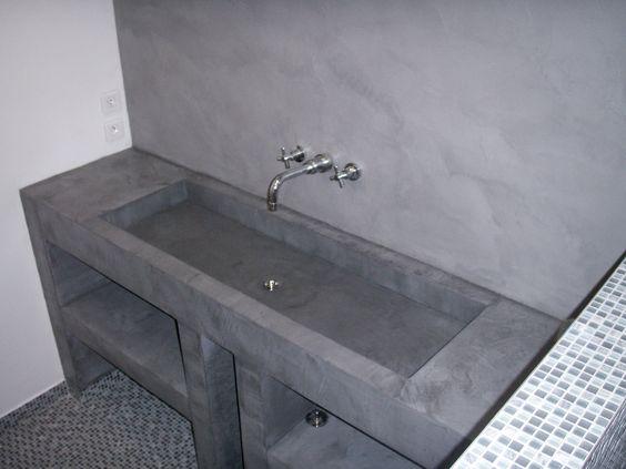 Plan de vasque sur mesure et mur en béton ciré par B.CC (MA's)