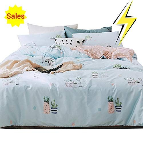 No Comforter OTOB Cute Kids Students Bedding Set 3 Pieces Reversible Cartoon Fish Shark Striped Pattern Duvet Cover for Boys White Black 100/% Cotton Queen Full Size