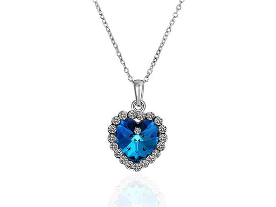 Blue Crystal Heart #Necklace