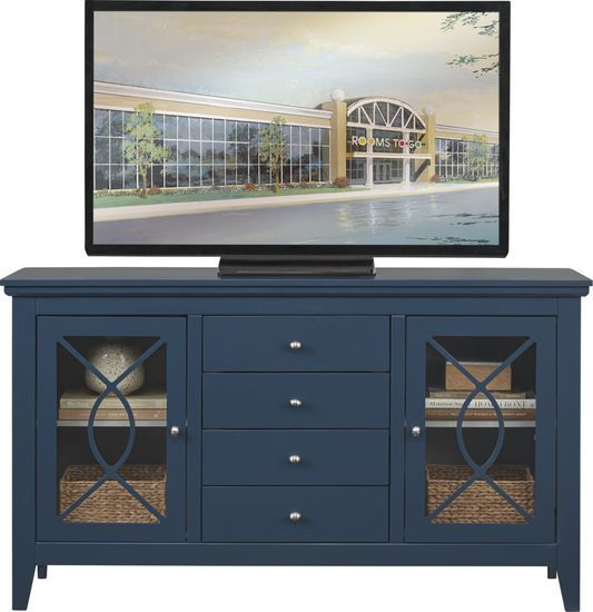 Abbie Navy 62 In Console Flat Screen Tv Stand Navy Living Rooms Rooms To Go