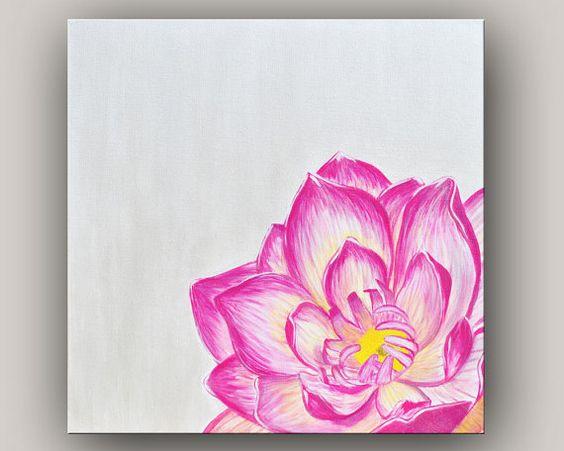 "Modern Canvas Art Pink Lotus Flower Painting - 24"" x 24"""