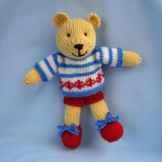 Butternut Bear teddy knitting pattern - INSTANT DOWNLOAD | Juguetes ...