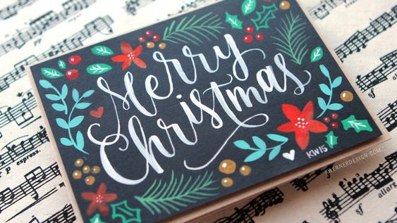 Brush Lettering & Hand Painted Christmas Card + Printables: