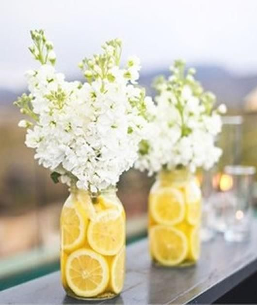 This is exactly what was on the tables at my wedding shower Back home. It was an out door shower.. Super cute and inexpensive. ~Cara