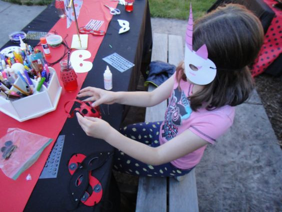 make eye masks and tikki party craft - miraculous ladybug party game idea