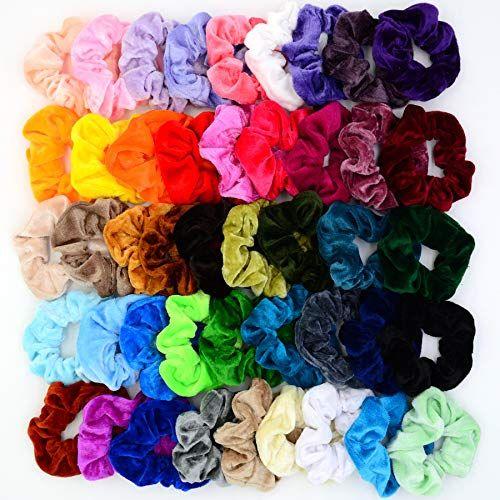 Premium Velvet Hair Scrunchies 60 Pcs Hair Bands Scrunchy Hair Ties Ropes Scrunc
