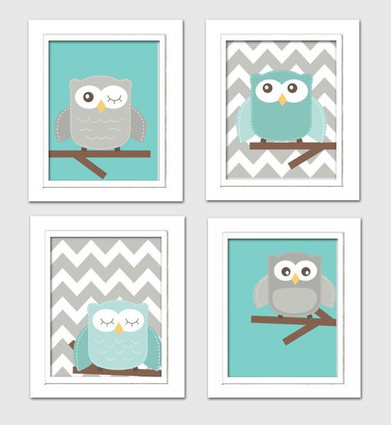 Digital Nursery Art Teal and Grey nursery Nursery by ChicWallArt