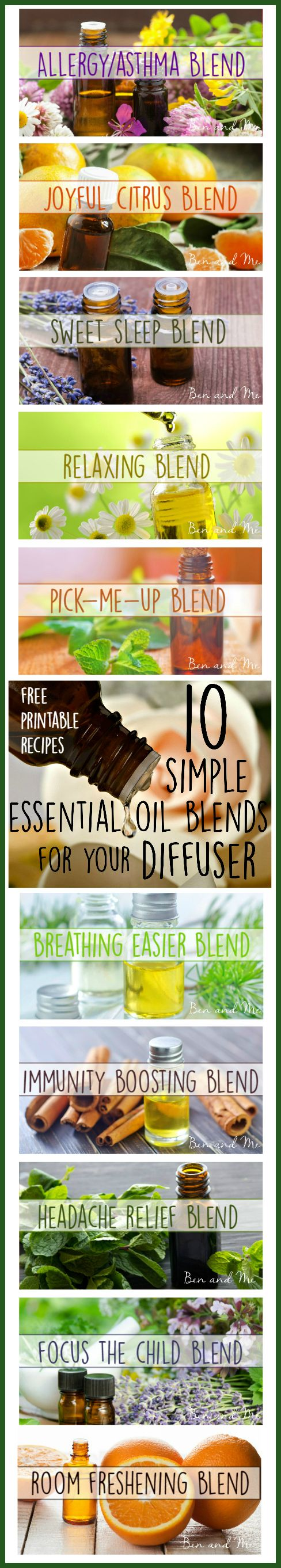 Which oils we diffuse can depend on a few factors — how we are feeling (is someone sick or having allergy symptoms, do I have another migraine?), the time of year (am I longing for the days when I burned fall candles?), what our goals are (do we need rest or focus?). Here are 10 of our favorite DIY blends.: