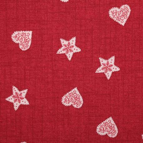 Tissu hiver scandi coeur et étoile - Rouge 7.20 POUR 50 CM