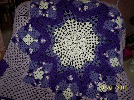 Purple star afghan by answeetcat, via Flickr