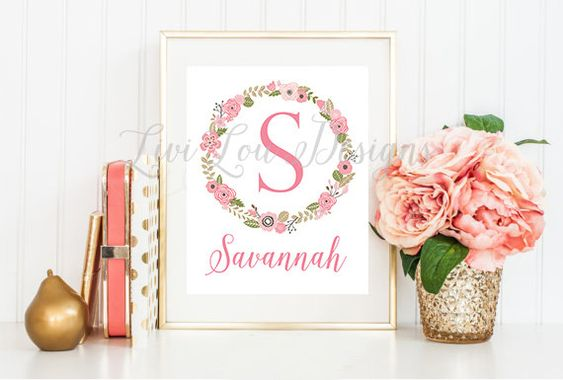 Custom Baby Girl Name Floral Letter Wall by LiviLouDesigns on Etsy