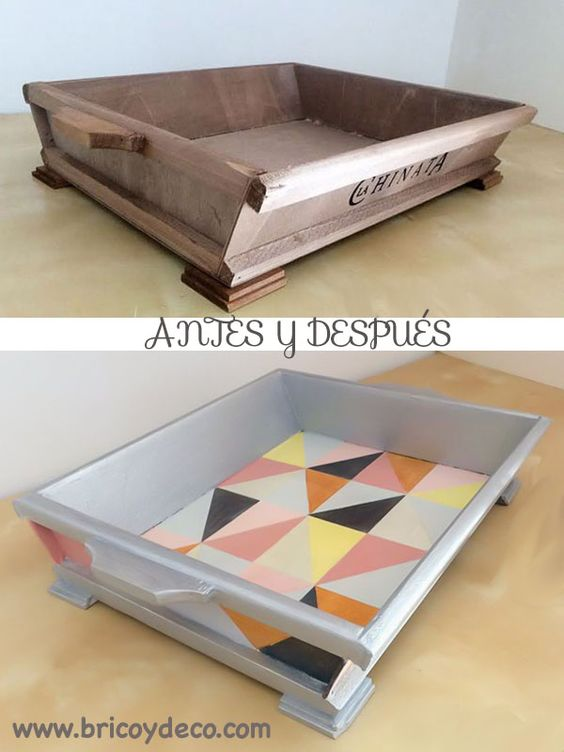 Como reciclar una bandeja de madera en - Caja joyero ikea ...