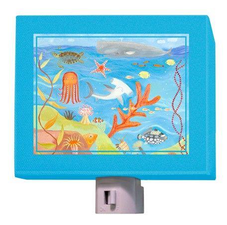 World Traveler: Children's nightlight featuring an underwater scene. #oopsydaisy #oopsydaisyart #nightligh