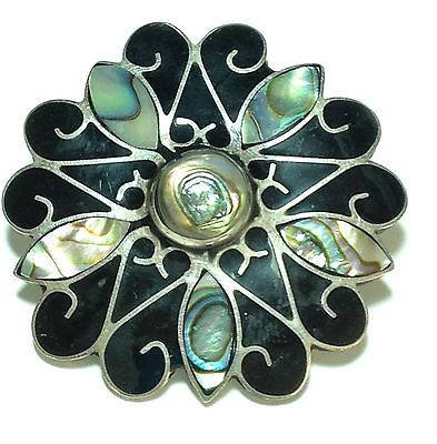 Silver, Onyx & Abalone Pin/Broach or Necklace