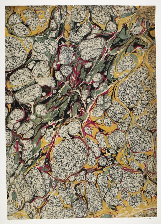 A marbled paper (J1942) from British Library's Olga Hirsch Collection.