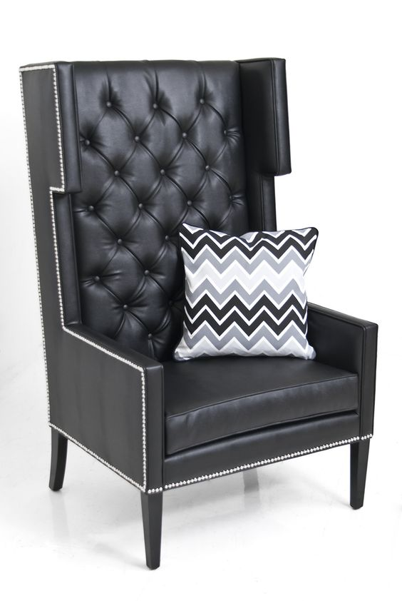 Tangier Wing Chair in Black Lizard Faux Leather