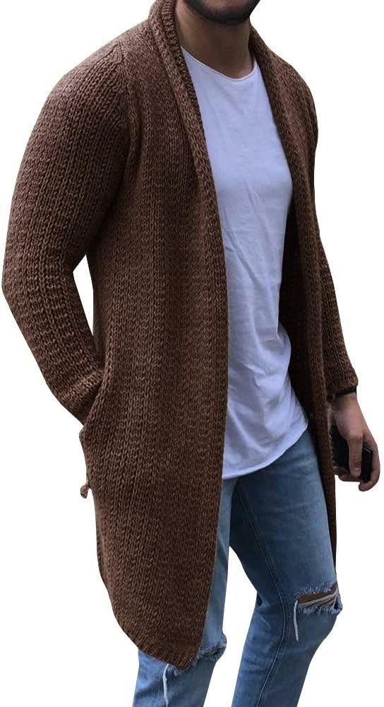 Amazon Com Cardigan Para Hombre De Manga Larga Tejido Frontal Abierto Con Bolsillo Moda L Cl In 2020 Mens Long Cardigan Mens Knitted Cardigan Mens Cardigan Sweater