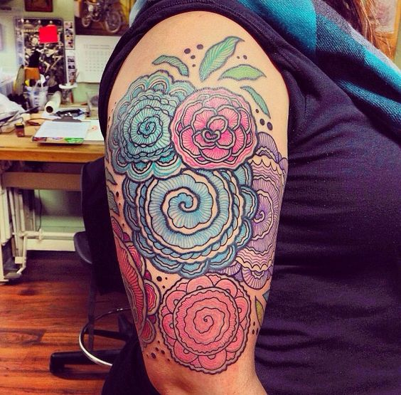 My crochet flowers half sleeve by Dino Nemec at iHeartTattoo Studios in Columbus,OH. This guy is amazing!: