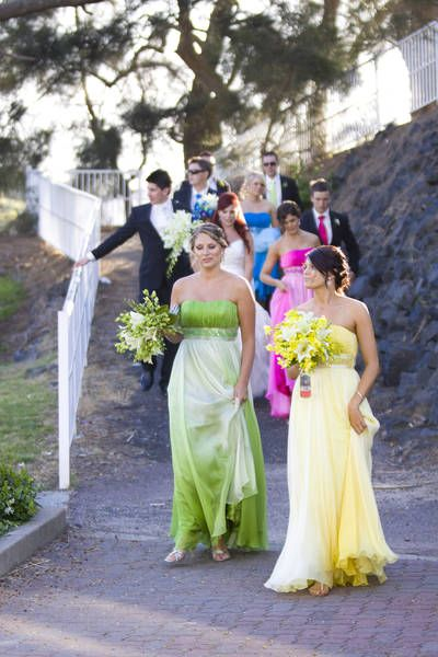 colorful bridesmaids
