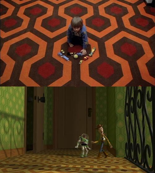 The carpet at Sid's house in Toy Story is the same as The Shining