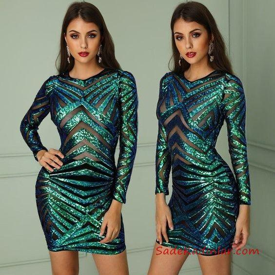 2019 Payetli Elbise Modelleri Yesil Kisa Uzun Kol Transparan Detayli The Dress Elbise Modelleri Moda Stilleri