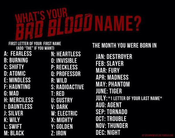What's your bad blood name ?
