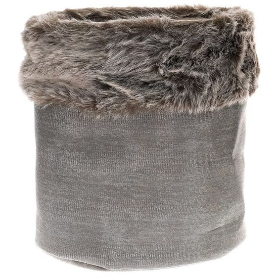 Faux Fur Trim Storage Basket Charcoal Set of 3 ❤ liked on Polyvore featuring home, home decor and small item storage