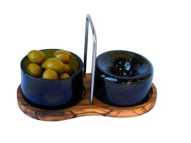 2 Schalen recycelte Flaschen + Olivenholz Ständer