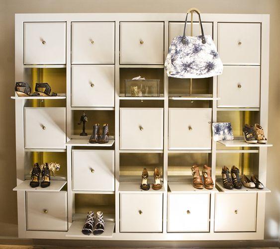 peek-a-boo shoe storage at Cynthia Vincent's NYC Flagship